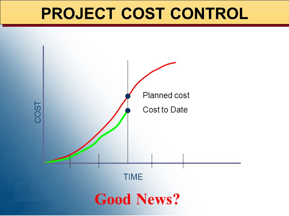 PROJECT COST CONTROL Good News Planned cost COST Cost to Date TIME