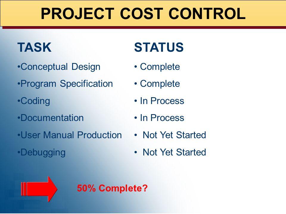 PROJECT COST CONTROL TASK STATUS Conceptual Design