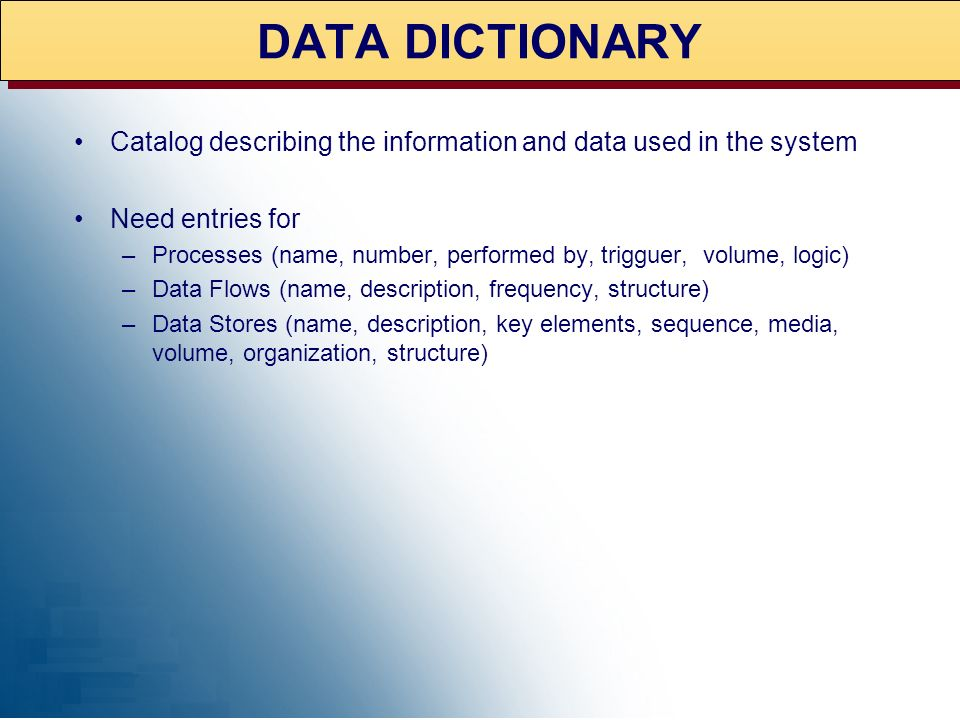 DATA DICTIONARYCatalog describing the information and data used in the system. Need entries for.