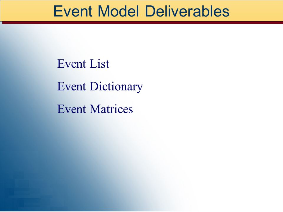 Event Model Deliverables