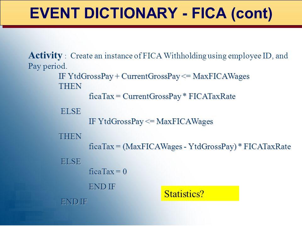 EVENT DICTIONARY - FICA (cont)
