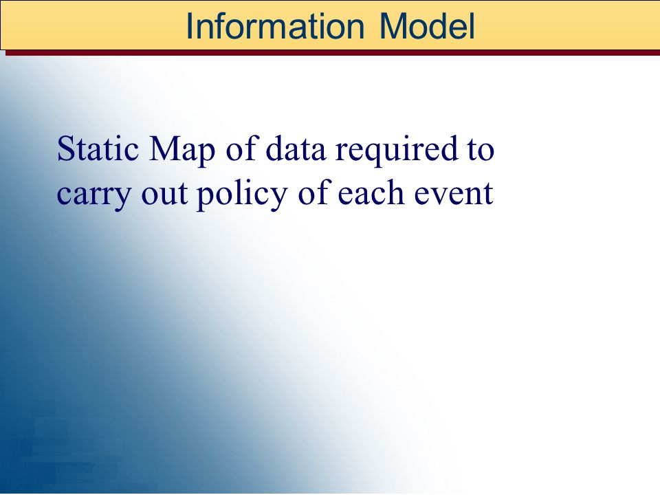 Information Model Static Map of data required to carry out policy of each event