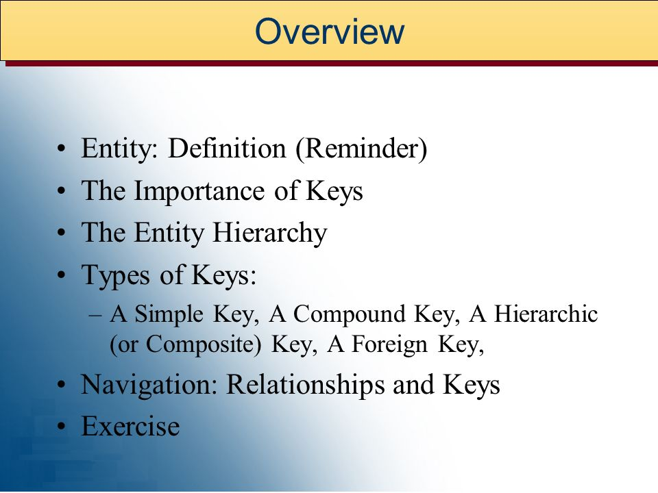 Overview Entity: Definition (Reminder) The Importance of Keys