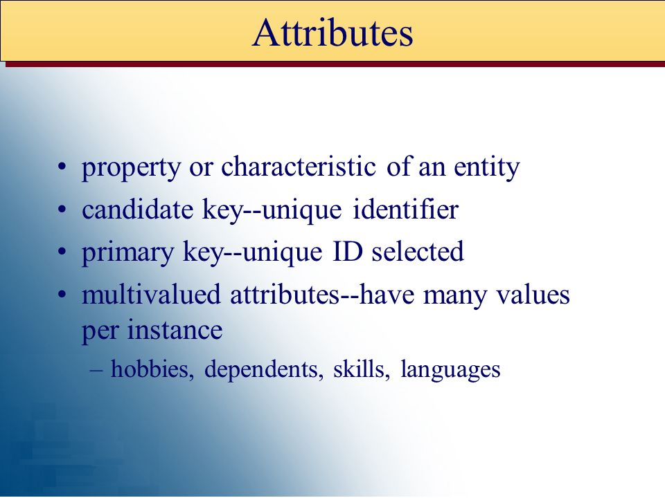 Attributes property or characteristic of an entity