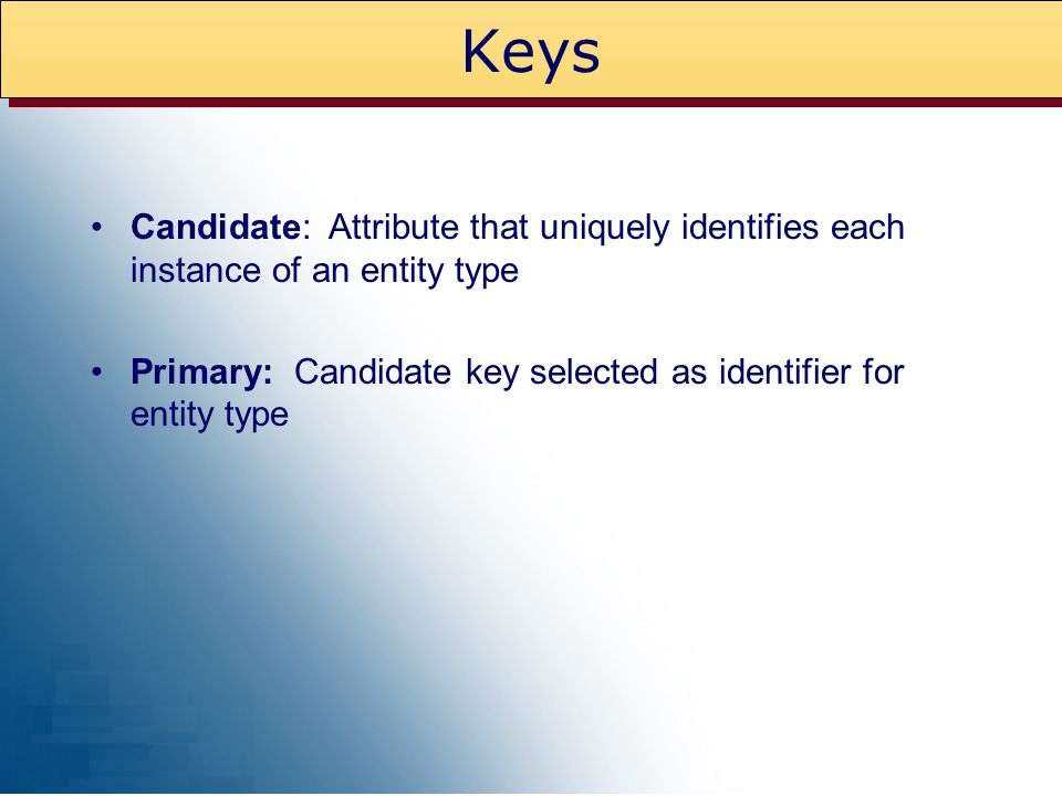 Keys Candidate: Attribute that uniquely identifies each instance of an entity type.