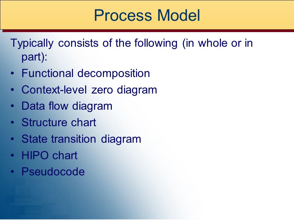 Process ModelTypically consists of the following (in whole or in part): Functional decomposition. Context-level zero diagram.