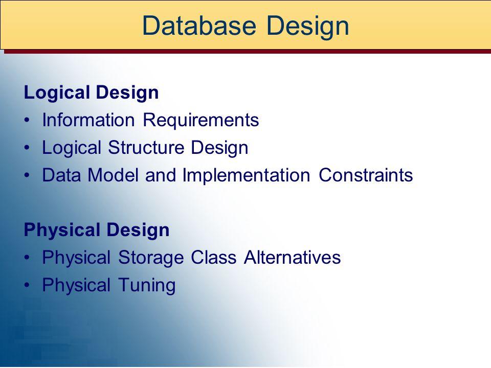 Database Design Logical Design Information Requirements