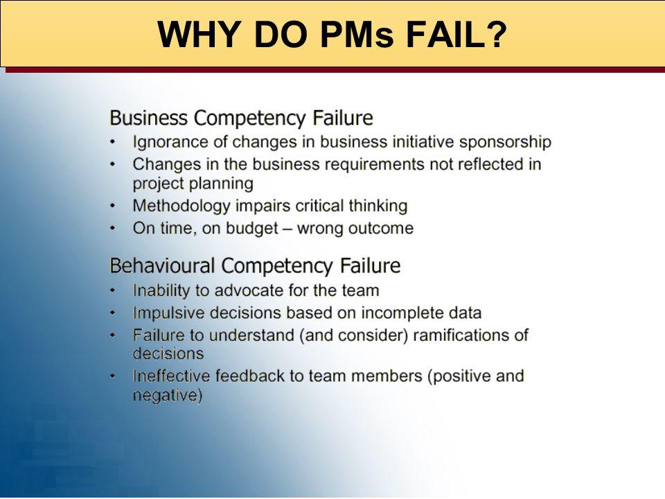 WHY DO PMs FAIL