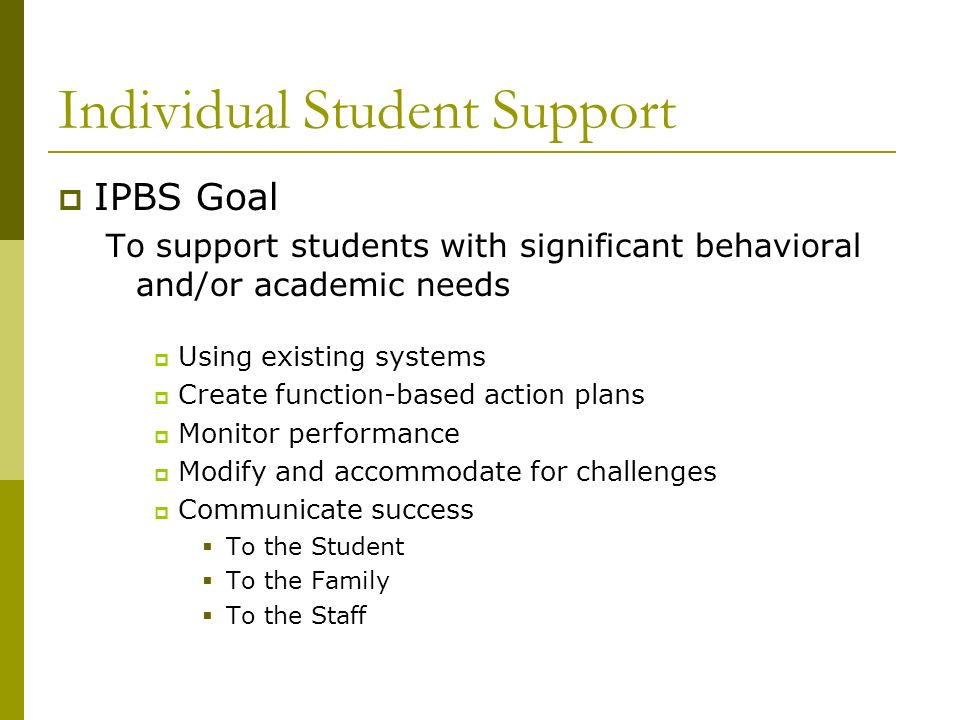 Individual Student Support