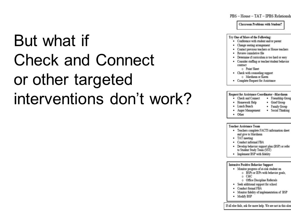 But what if Check and Connect or other targeted interventions don't work