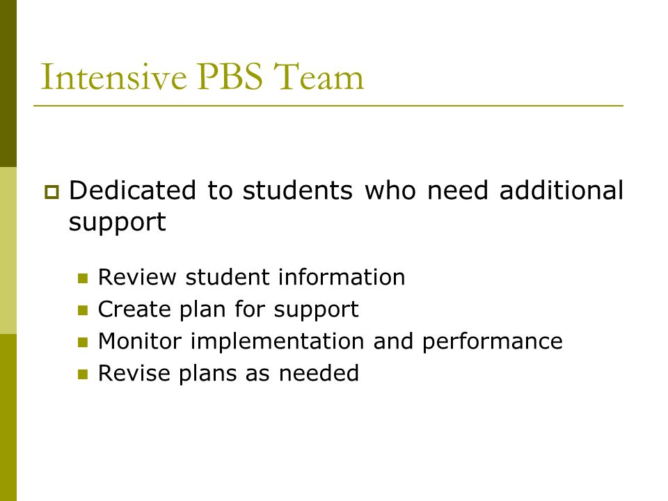 Intensive PBS Team Dedicated to students who need additional support