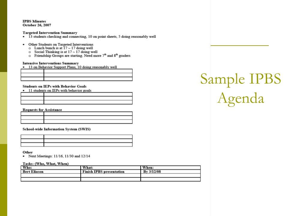 Sample IPBS Agenda