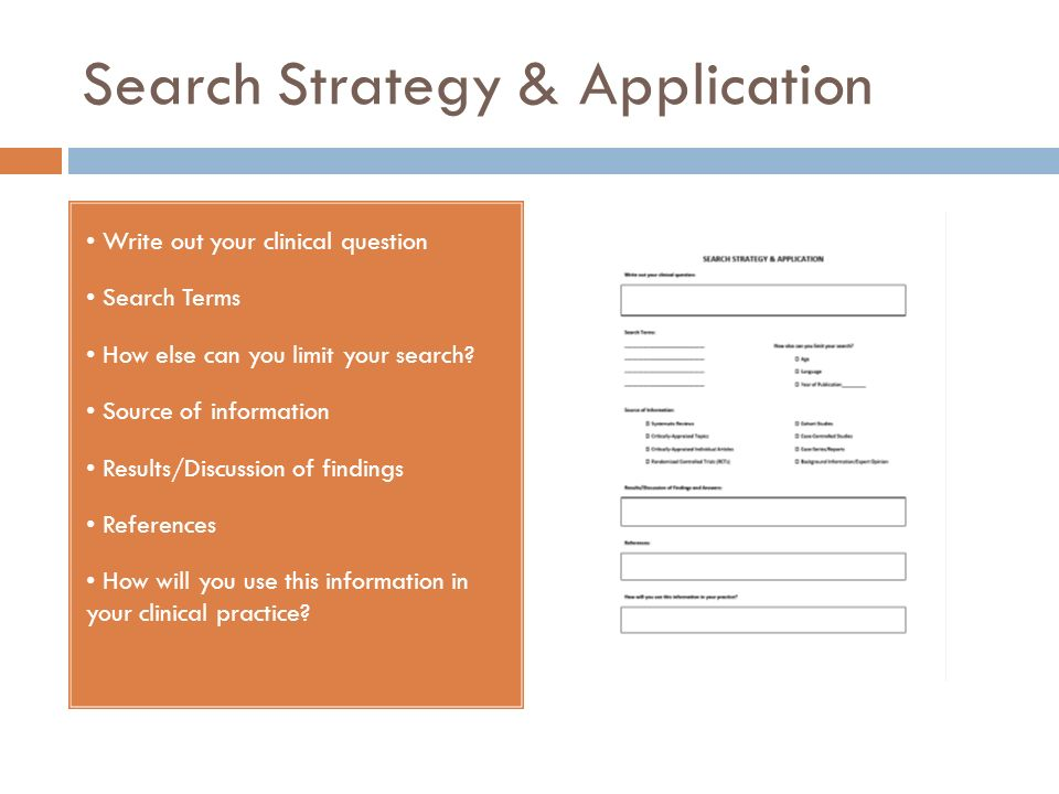 Search Strategy & Application