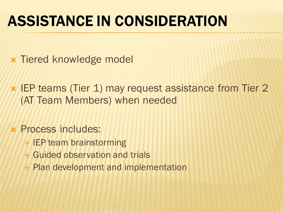 Assistance in Consideration