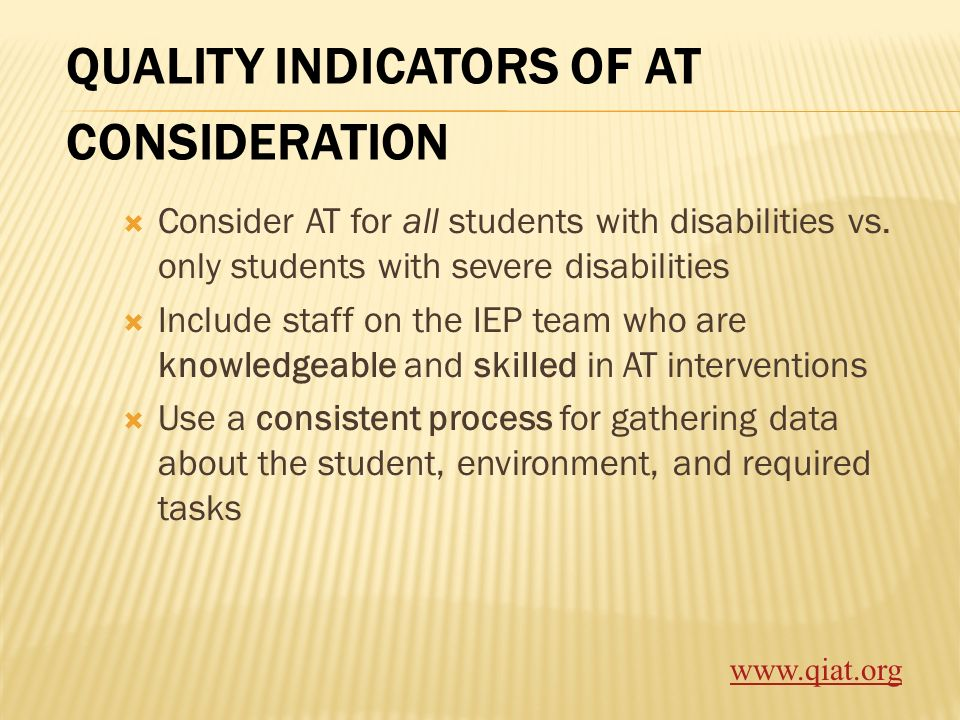 QUALITY INDICATORS OF AT CONSIDERATION