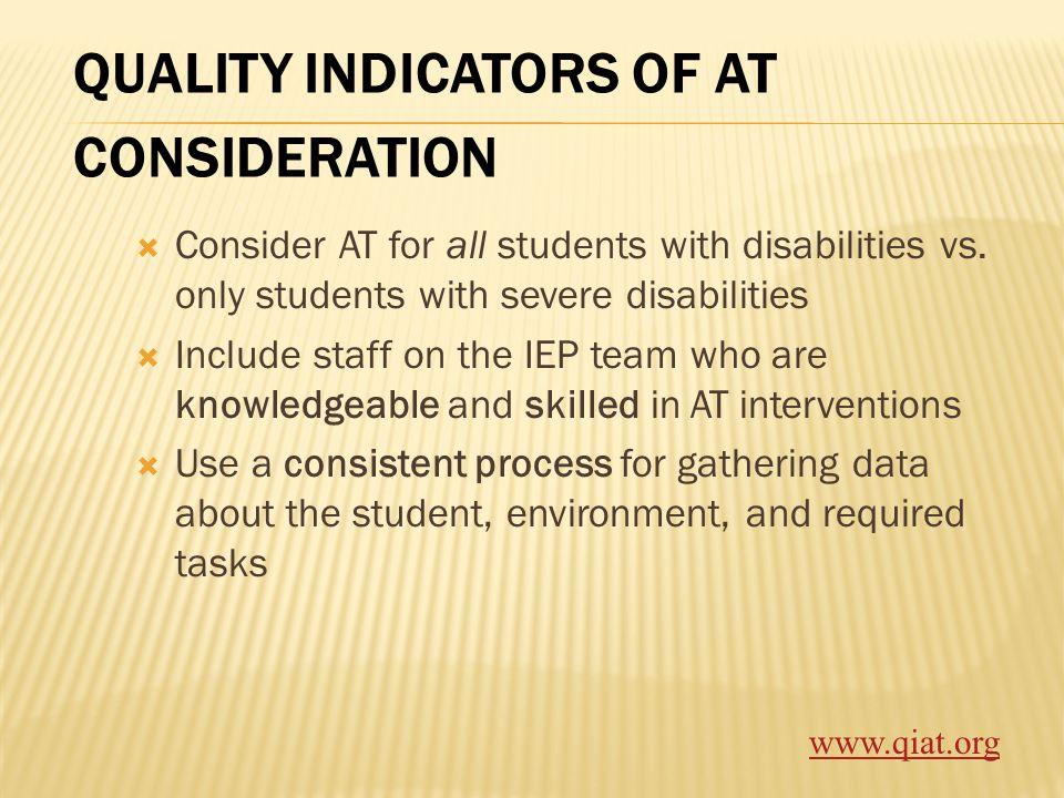 QUALITY INDICATORS OF AT CONSIDERATION