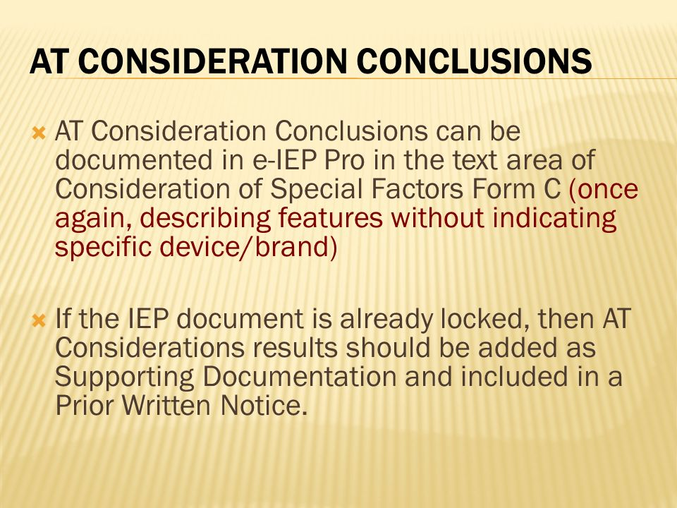 AT Consideration Conclusions