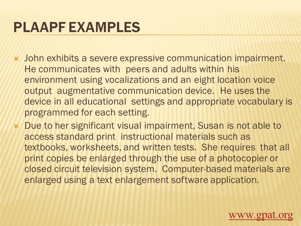 PLAAPF EXAMPLES www.gpat.org
