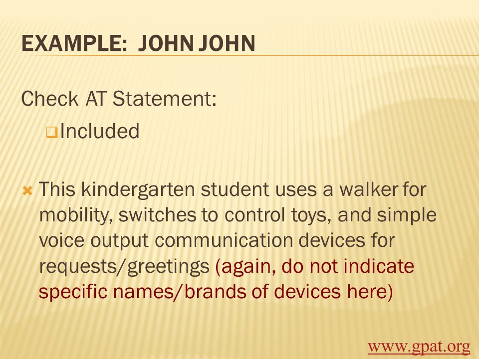 Example: John John Check AT Statement: Included