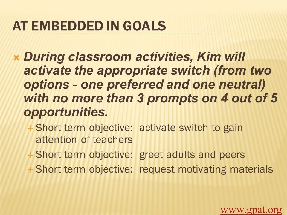 AT EMBEDDED IN GOALS