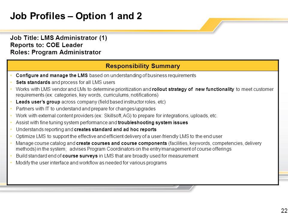 Job Profiles – Option 1 and 2