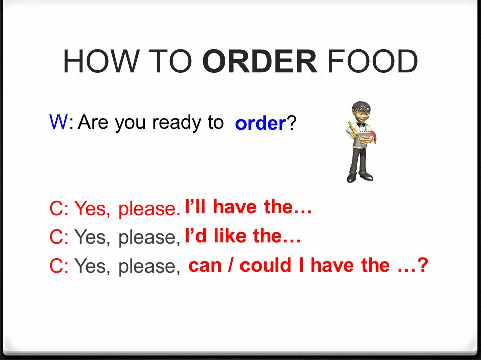 HOW TO ORDER FOOD W: Are you ready to order C: Yes, please.