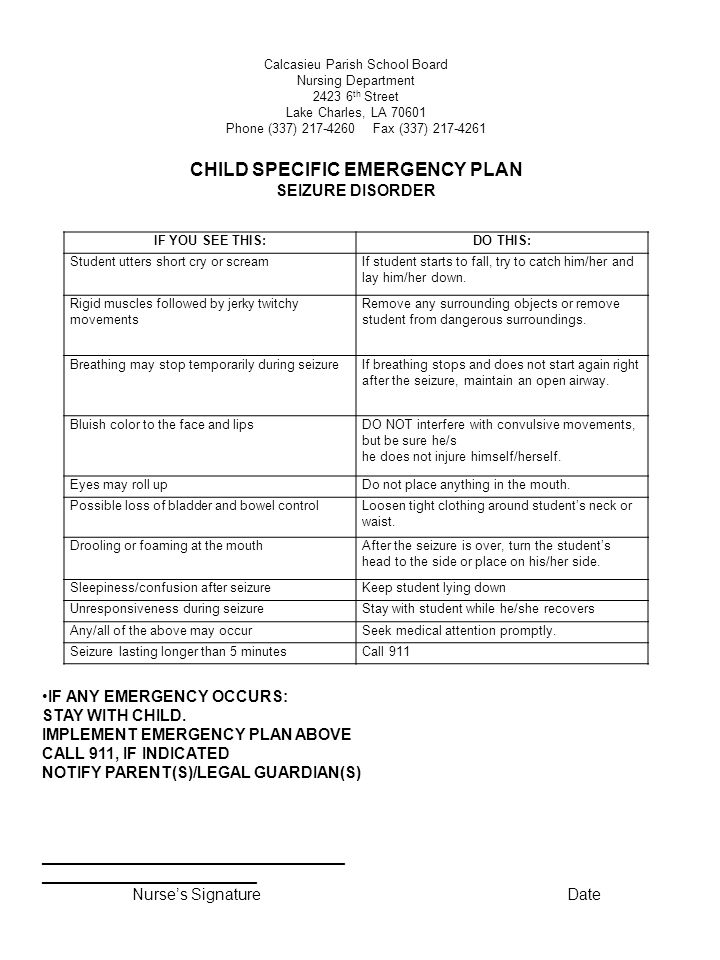 CHILD SPECIFIC EMERGENCY PLAN