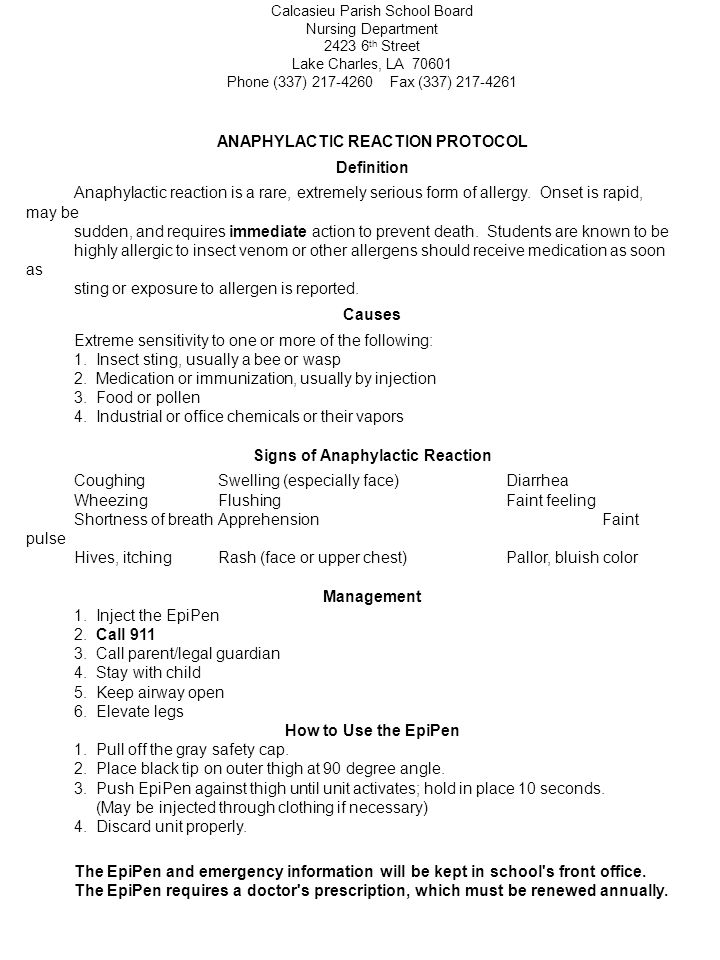 ANAPHYLACTIC REACTION PROTOCOL Signs of Anaphylactic Reaction