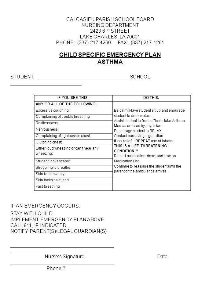 CHILD SPECIFIC EMERGENCY PLAN ASTHMA
