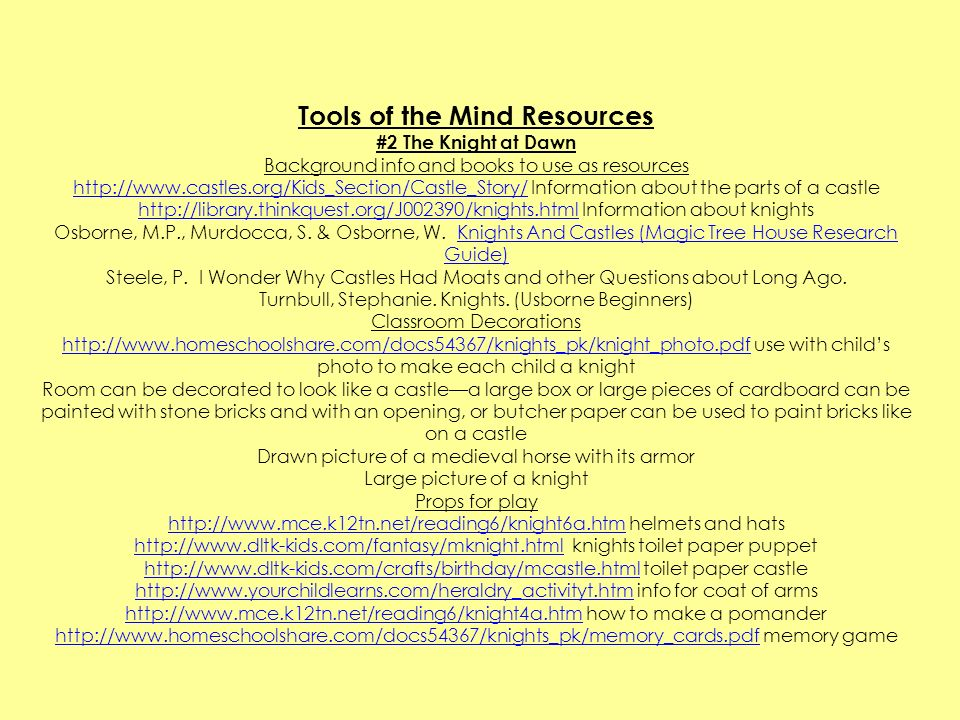 Tools of the Mind Resources