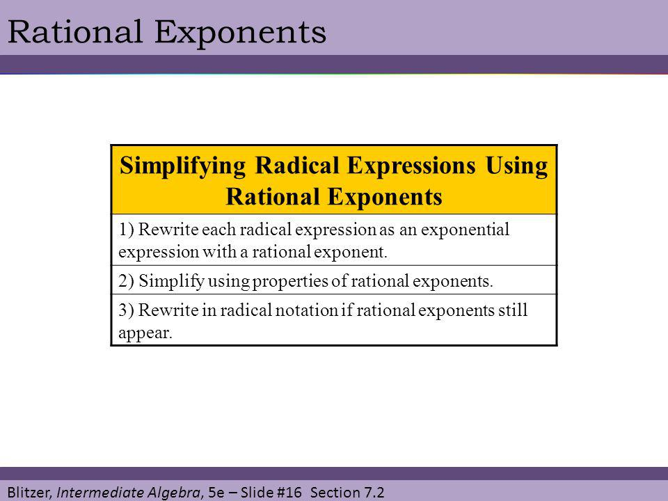 Simplifying Radical Expressions Using Rational Exponents