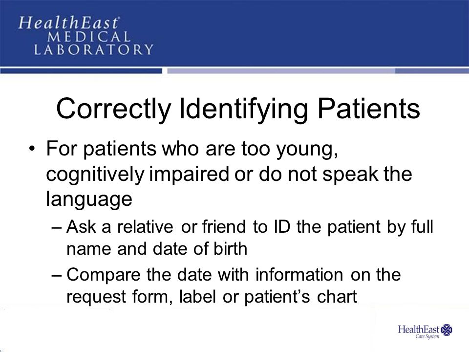 Correctly Identifying Patients