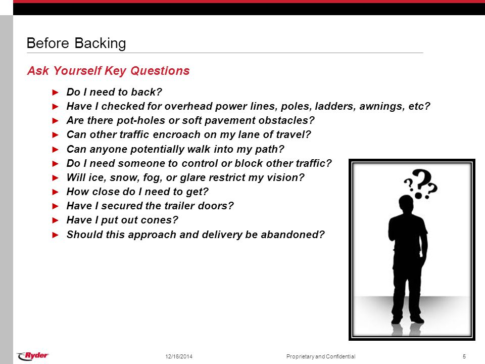 Before Backing Ask Yourself Key Questions Do I need to back