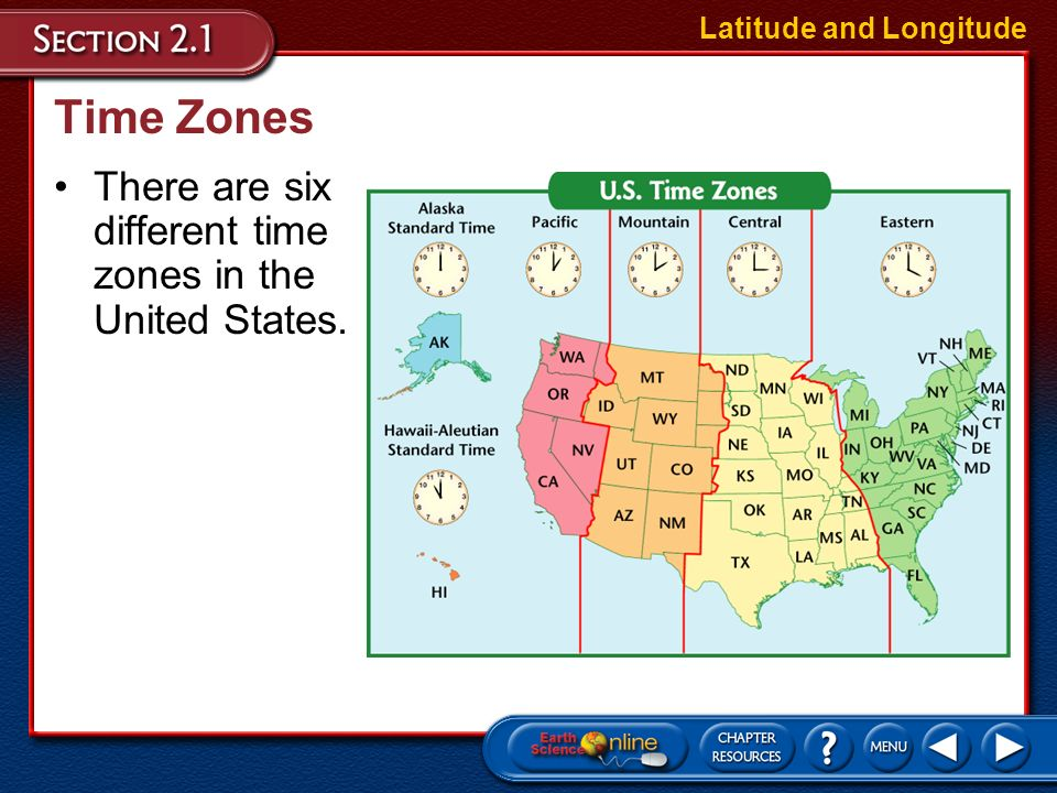 Time Zones There are six different time zones in the United States.