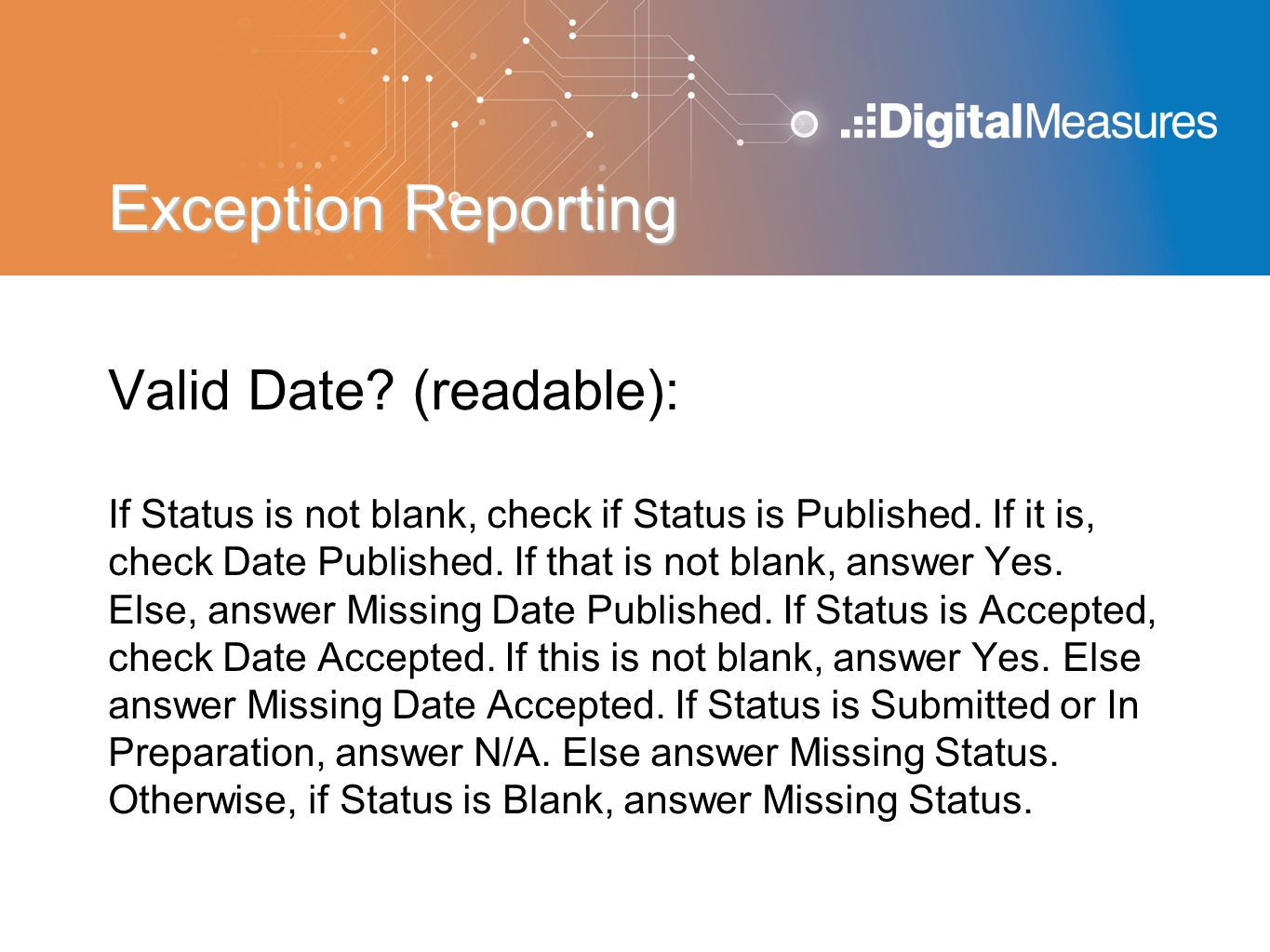 Exception Reporting Valid Date (readable):