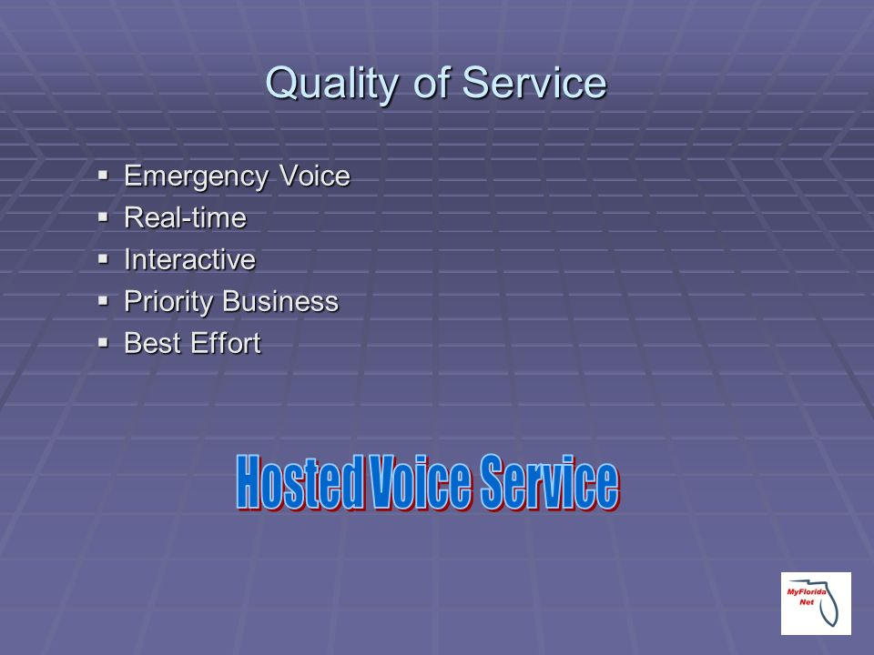 Quality of Service Hosted Voice Service Emergency Voice Real-time