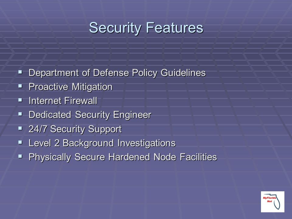 Security Features Department of Defense Policy Guidelines