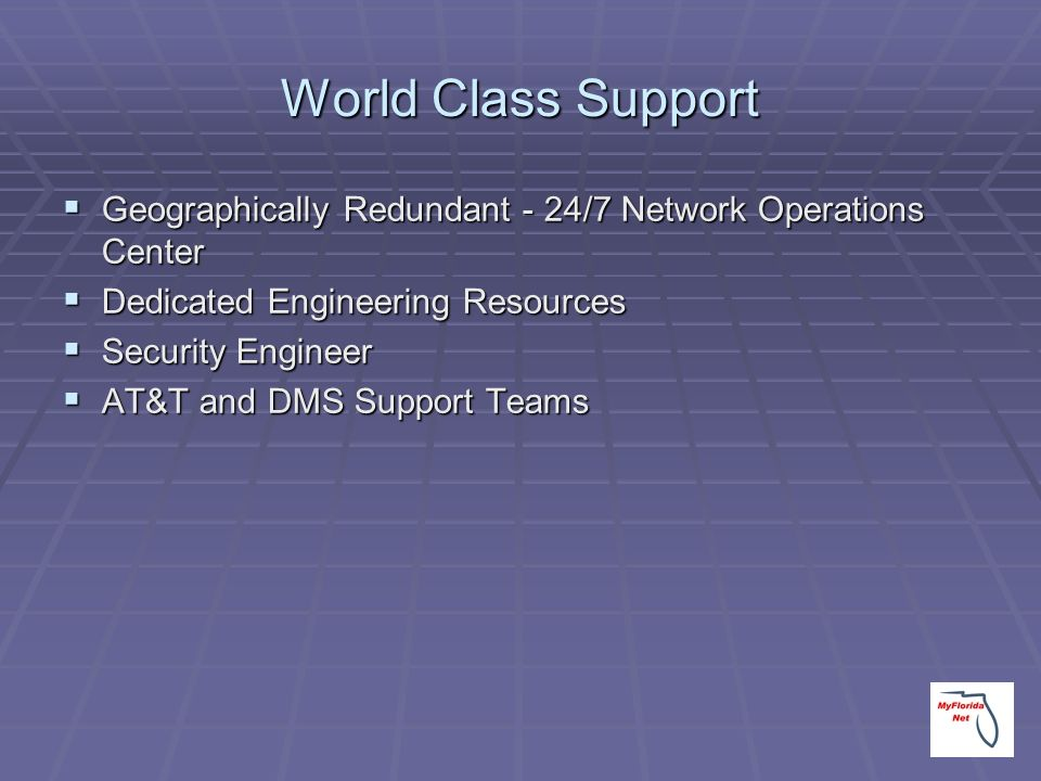 World Class Support Geographically Redundant - 24/7 Network Operations Center. Dedicated Engineering Resources.