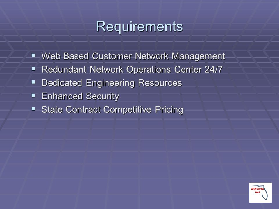 Requirements Web Based Customer Network Management