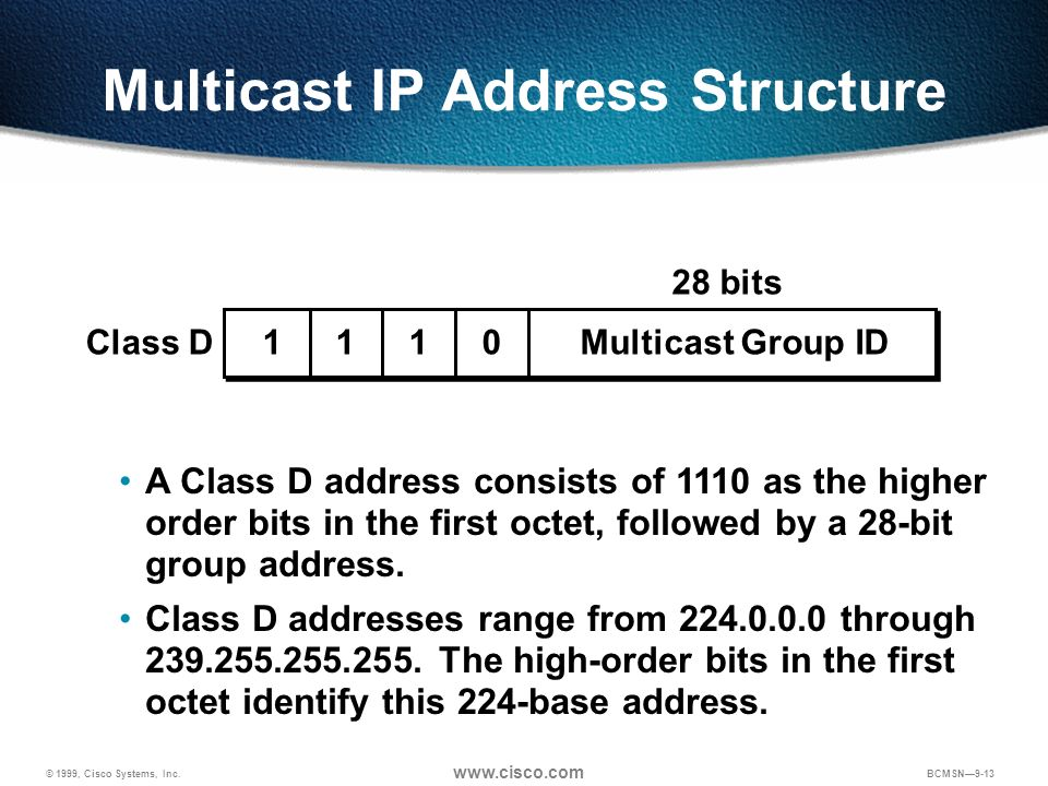 Multicast IP Address Structure