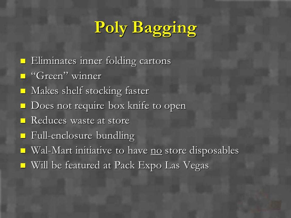 Poly Bagging Eliminates inner folding cartons Green winner