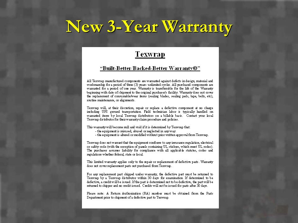 New 3-Year Warranty
