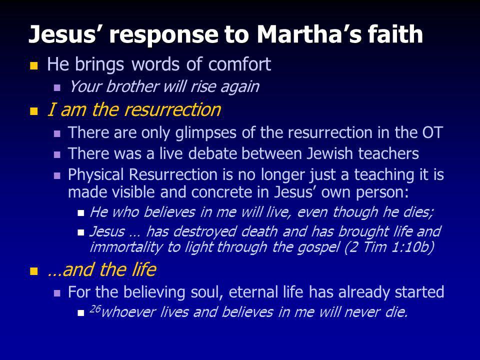 Jesus' response to Martha's faith