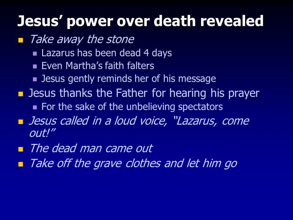 Jesus' power over death revealed