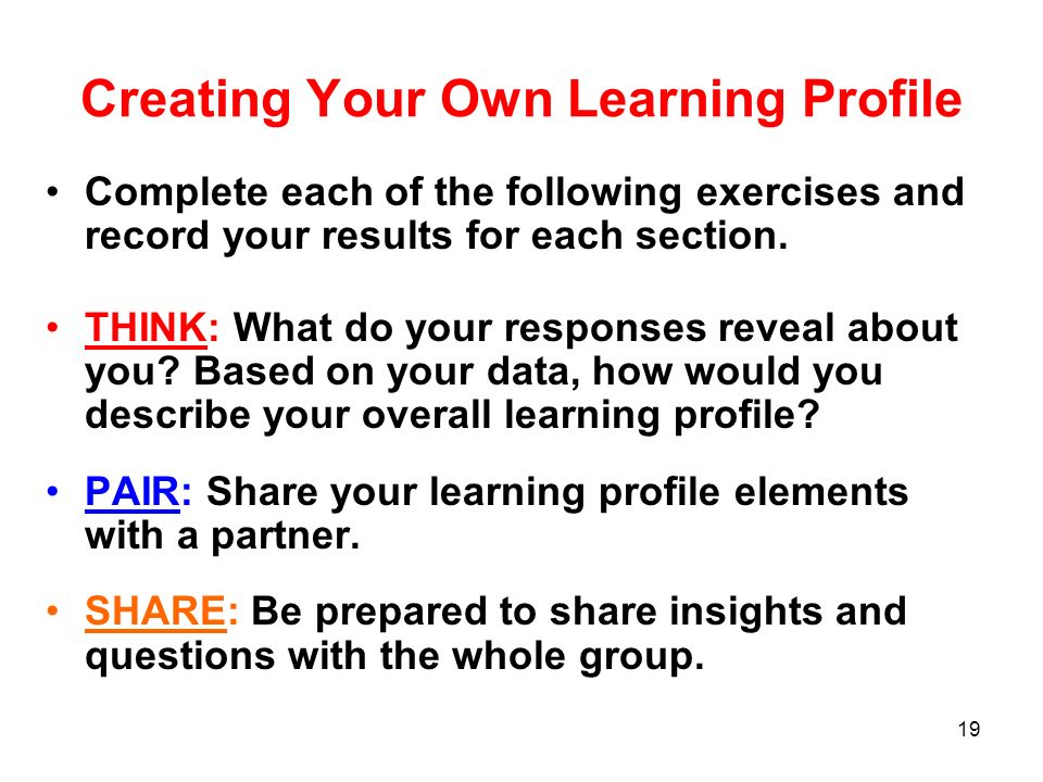 Creating Your Own Learning Profile