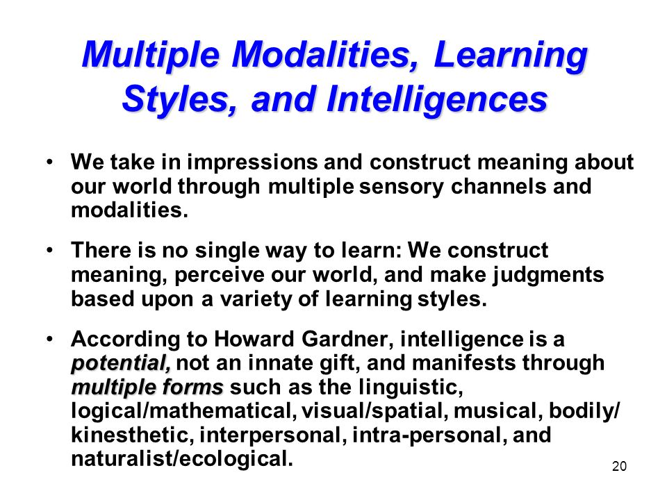Multiple Modalities, Learning Styles, and Intelligences