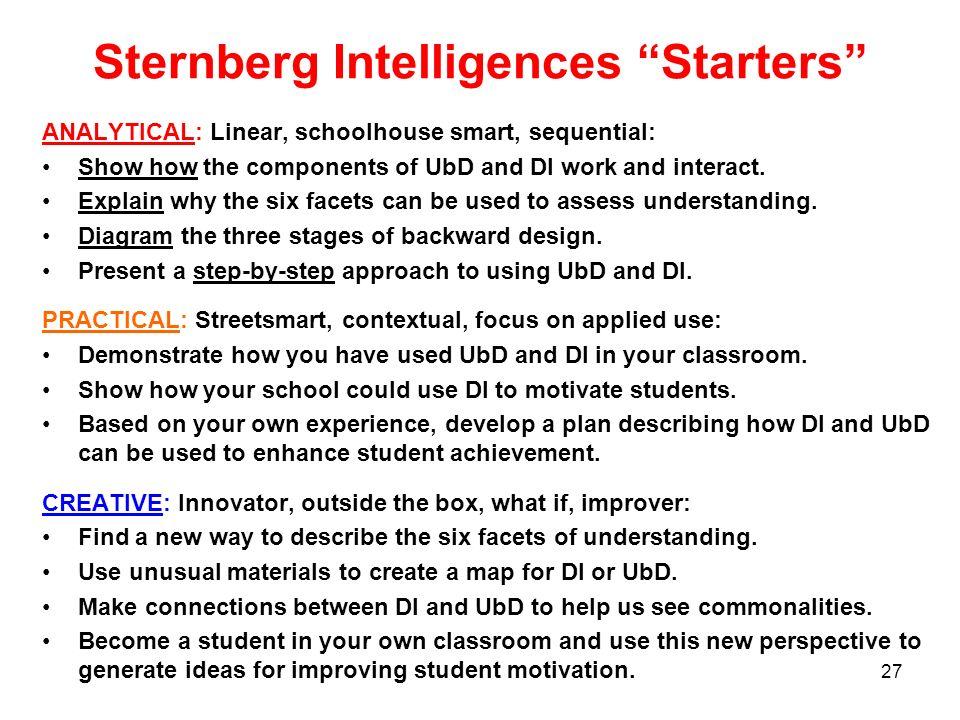 Sternberg Intelligences Starters