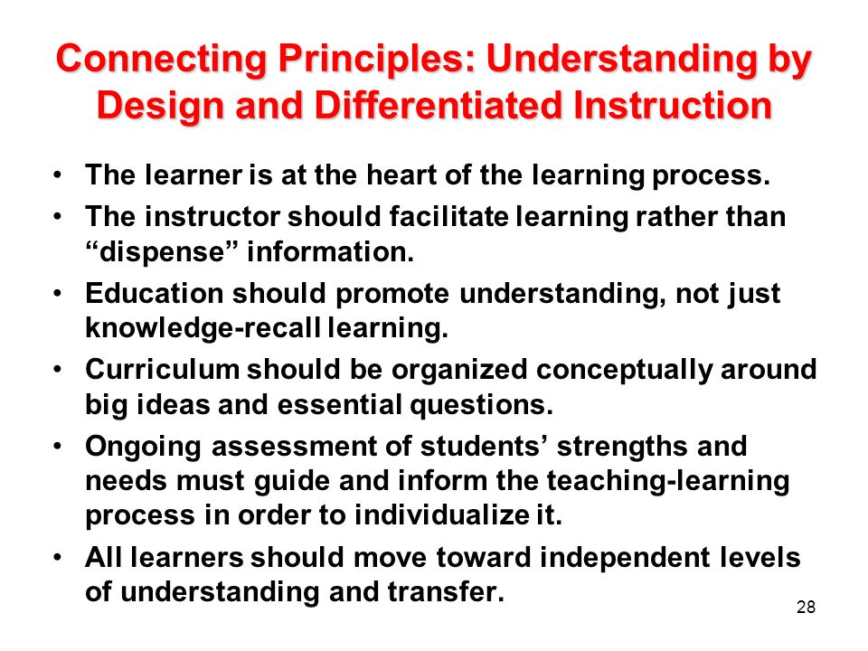 Connecting Principles: Understanding by Design and Differentiated Instruction