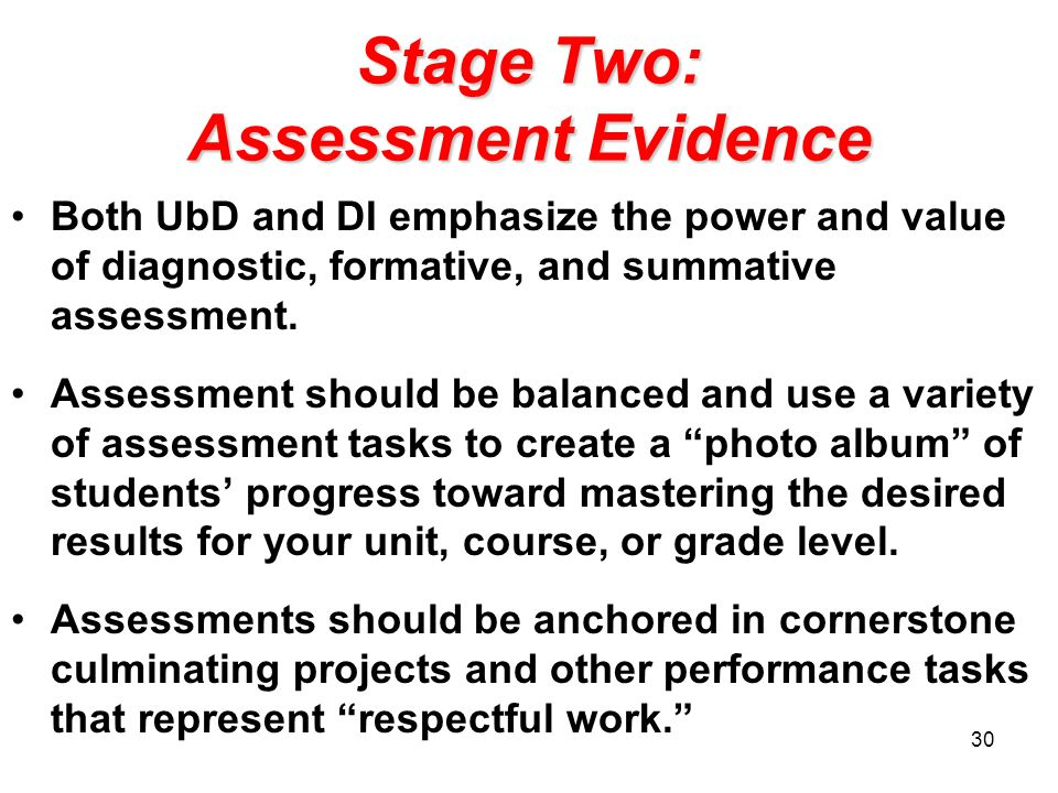 Stage Two: Assessment Evidence