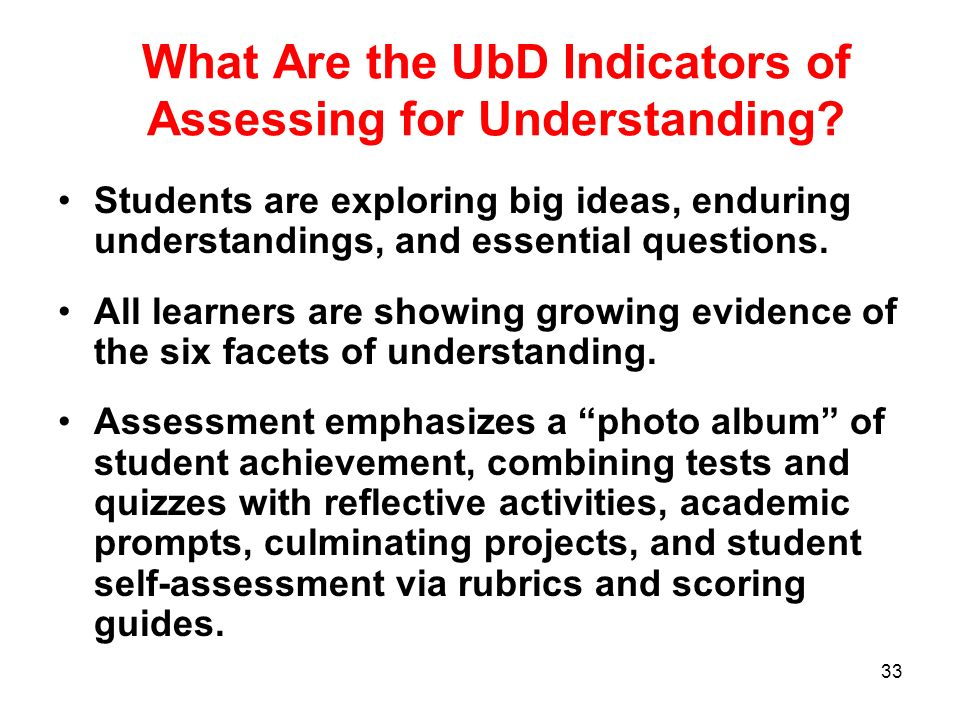 What Are the UbD Indicators of Assessing for Understanding